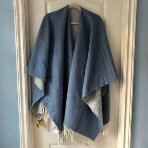 NWOT Blue and Grey Wool Reversible Wrap